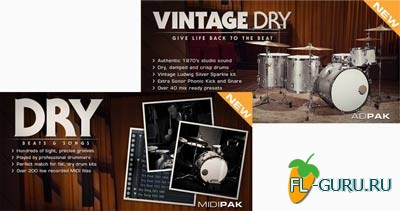 XLN Audio Vintage Dry ADpak and Dry Beats and Songs MIDI Pak